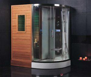 финская сауна с душевой кабиной для квартиры